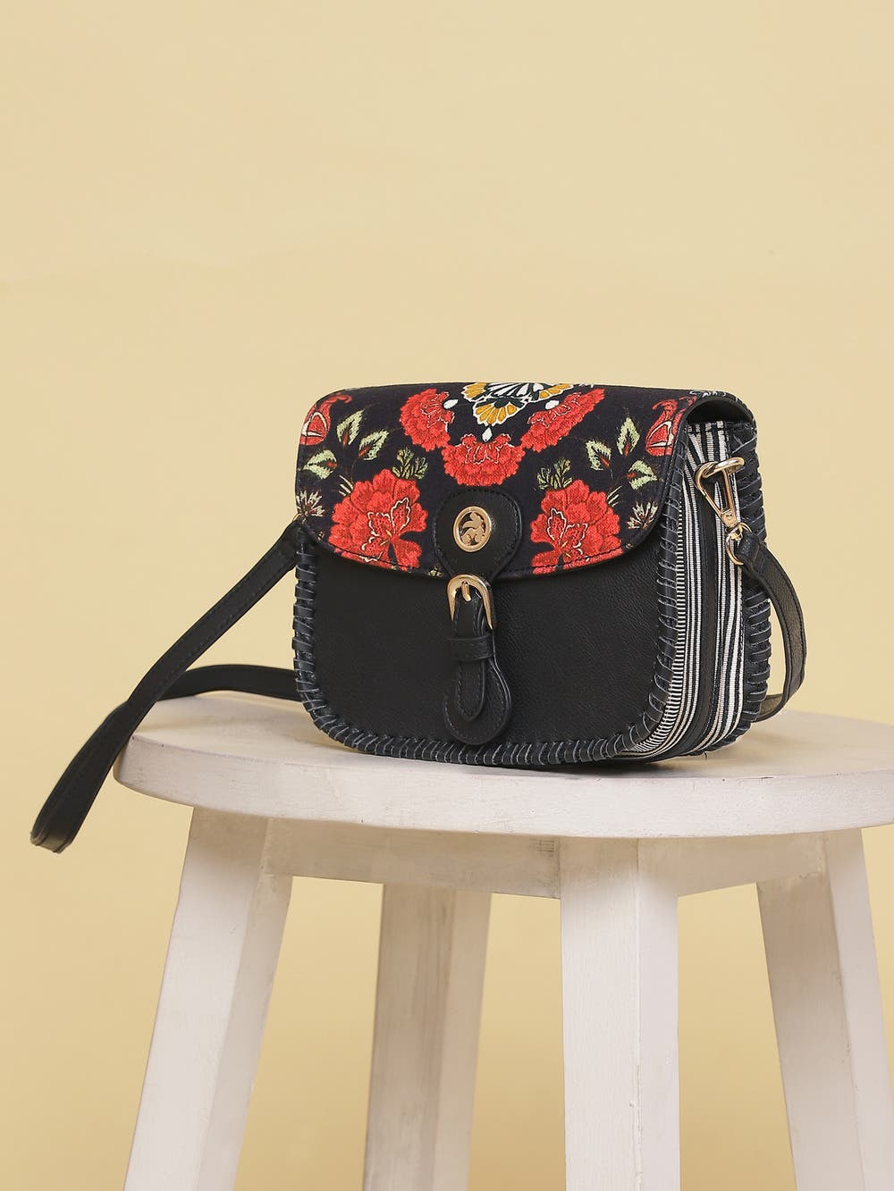 Black Printed Sling Bag