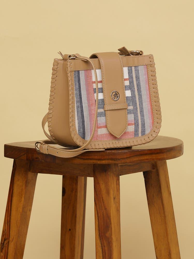 Pink & White Stripe Sling Bag