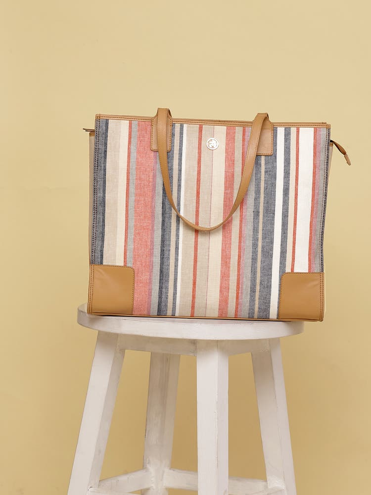 Pink & White Stripe Tote Bag