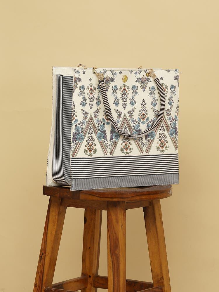 Off White Printed Tote Bag