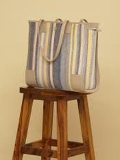 Yellow & White Stripe Tote Bag
