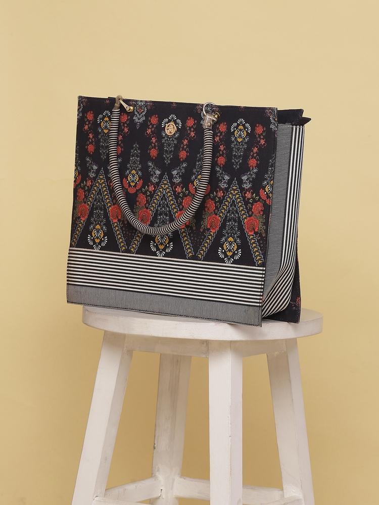 Black Printed Tote Bag