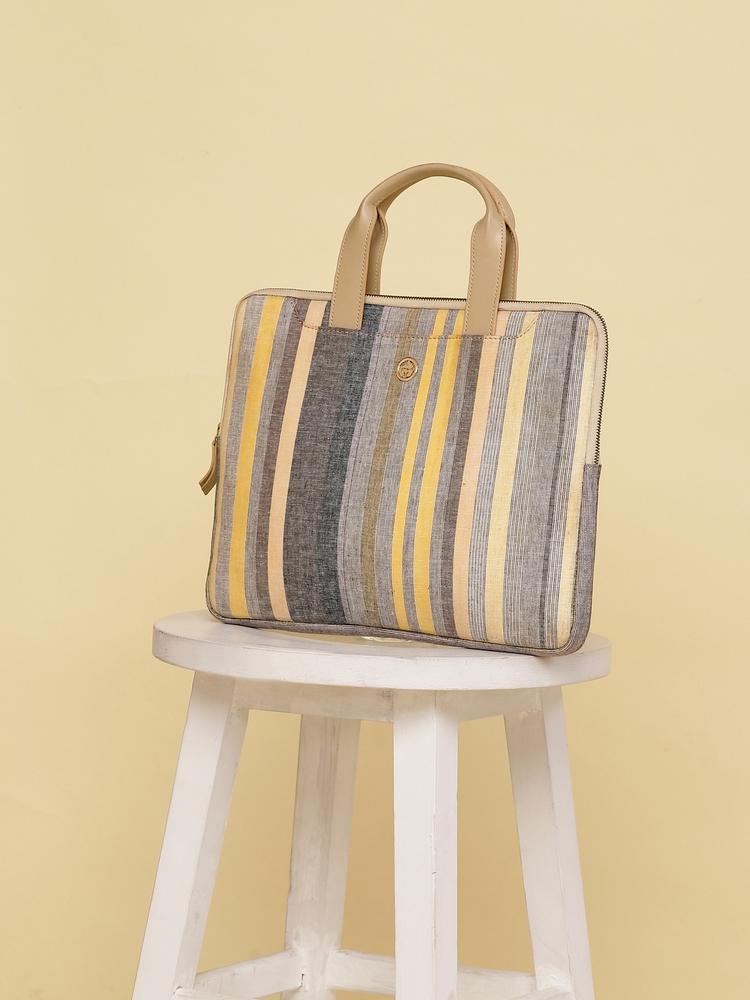 Yellow & White Stripe Laptop Bag