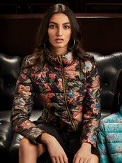 Black Floral Print Puffer Jacket
