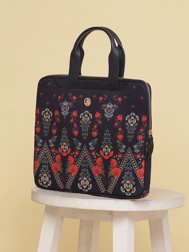 Black Printed Laptop Bag