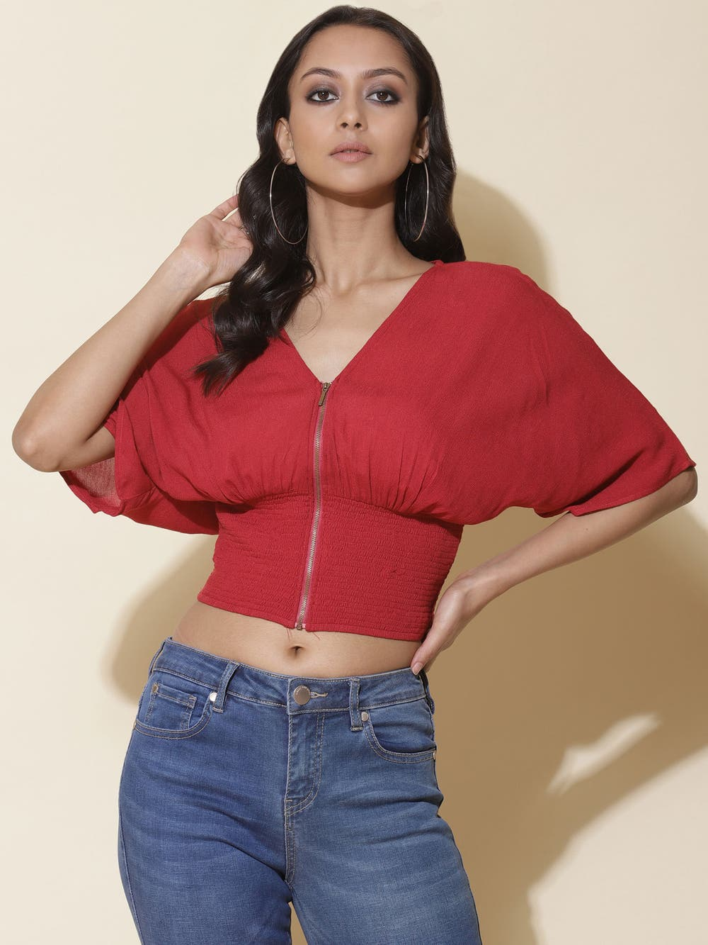 Cherry Red Smocked Blouson Crop Top