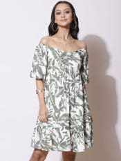 Ecru Floral Print Off-Shoulder Short Dress