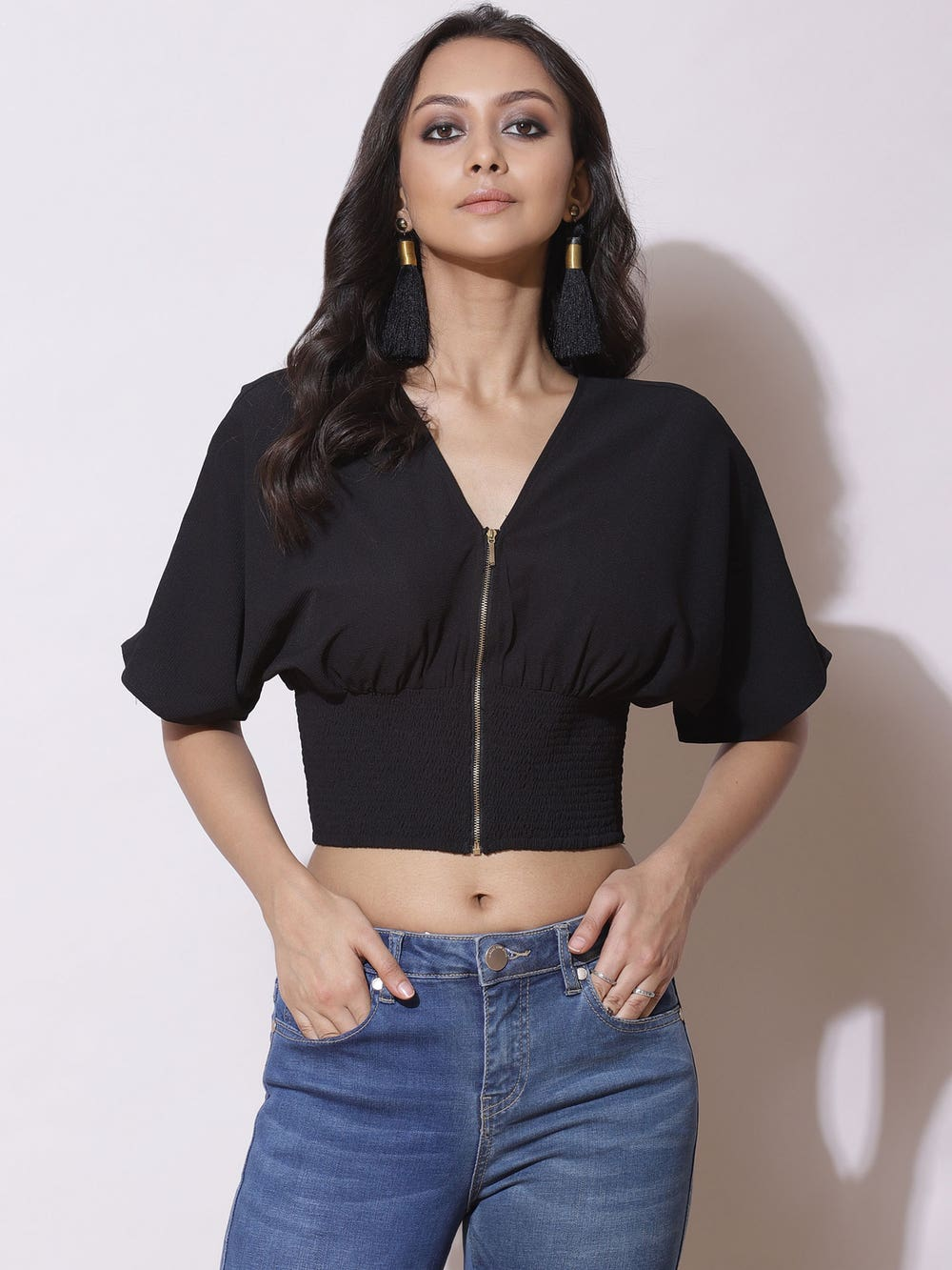 Black Smocked Blouson Crop Top