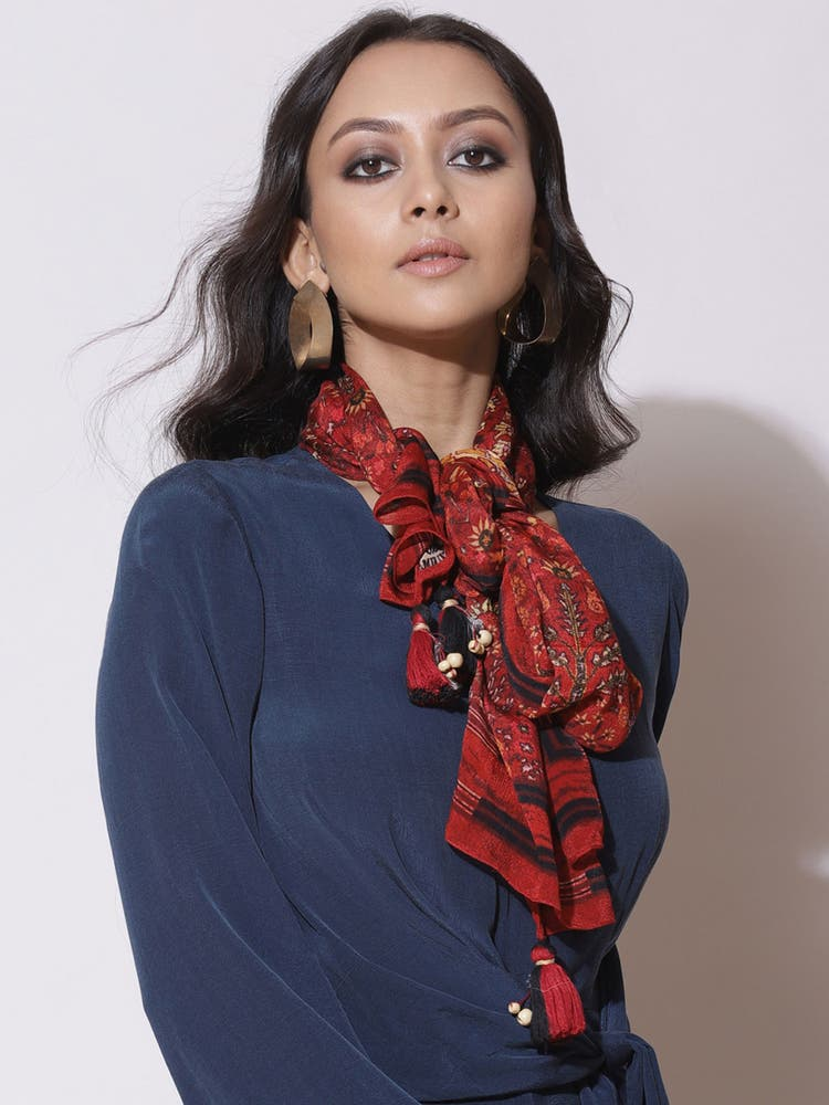 Red Printed Rectangular Scarf