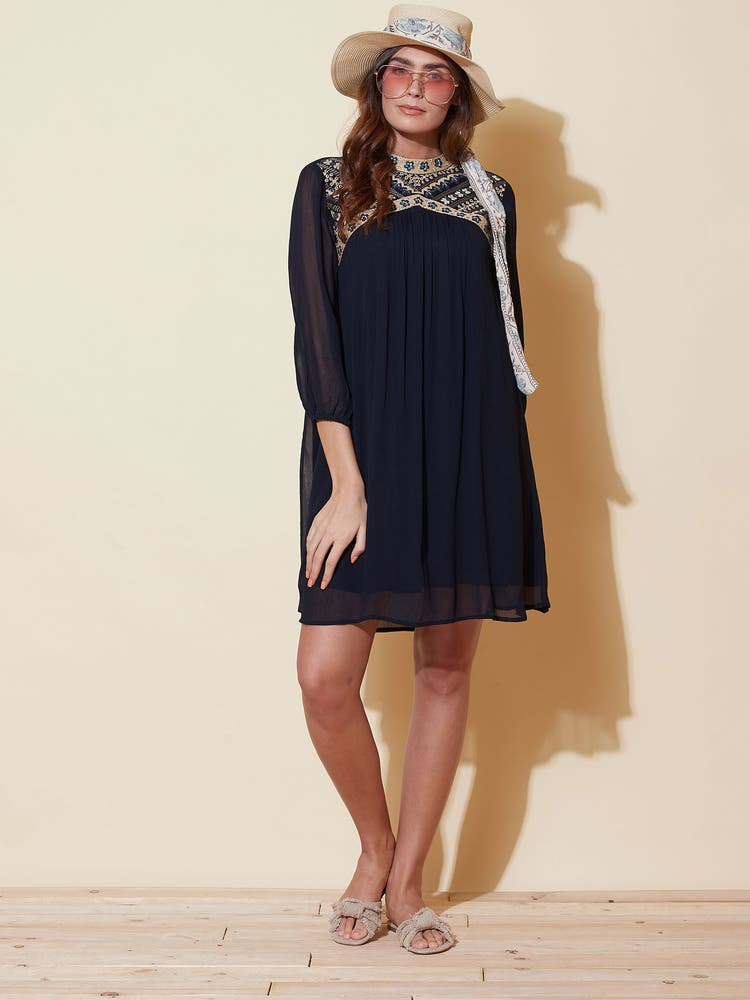 Navy Blue Embroidered Short Dress
