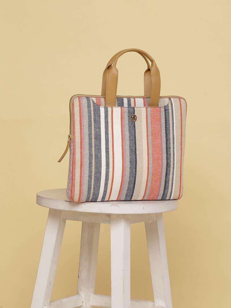 Pink & White Stripe Laptop Bag