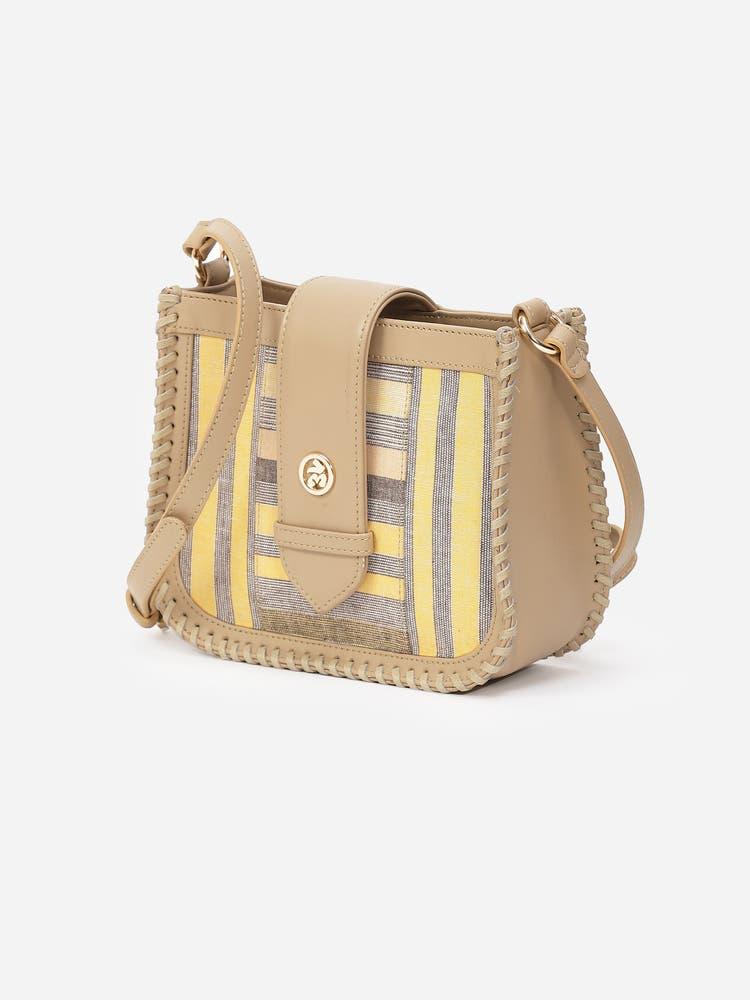 Yellow & White Stripe Sling Bag