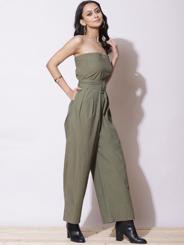 Olive Green Off-Shoulder Jumpsuit
