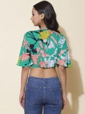 Green Floral Print Crop Top