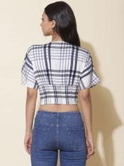 Ecru & Black Stripe Crop Top