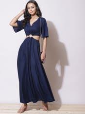 Navy Blue Cut-Out Dress