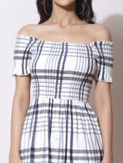 Ecru & Black Stripe Off-Shoulder Long Dress