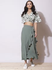 Ecru Floral Print Crop Top