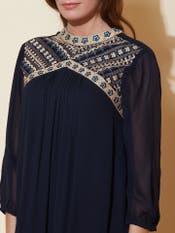 Navy Blue Embroidered Short Dress