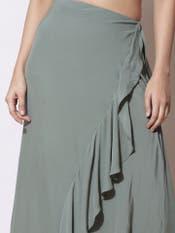Olive Green Ruffle Skirt
