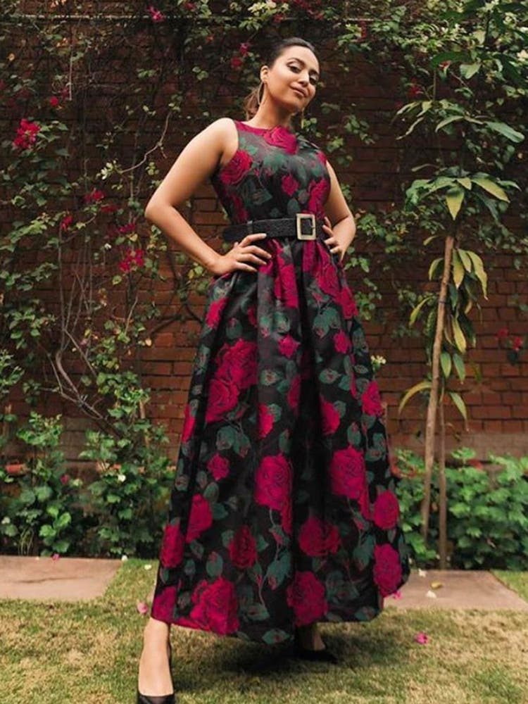Swara Bhaskar in a Brown Rose Floral Embroidered Dress