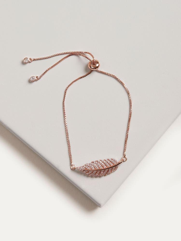 Rose Gold Cubic Zirconia Leaf Bracelet