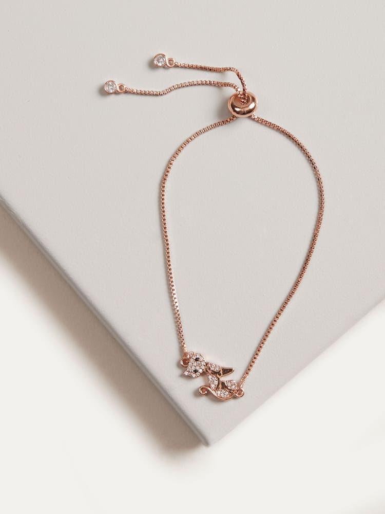 Rose Gold Cubic Zirconia Cat Bracelet