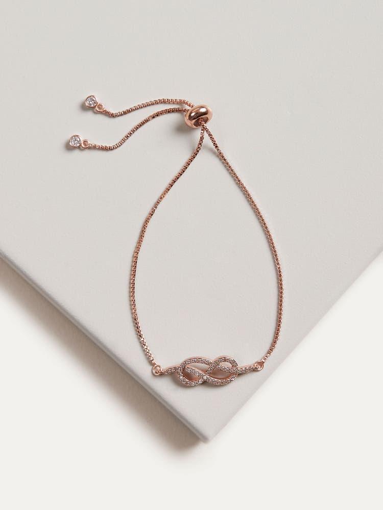 Rose Gold Cubic Zirconia Infinity Bracelet