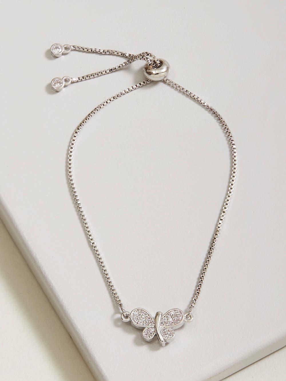 Silver Butterfly Cubic Zirconia Bracelet