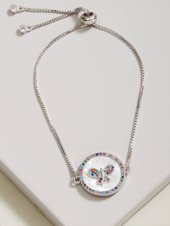 Silver Colorful Butterfly Zirconia Bracelet