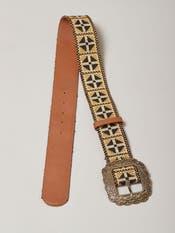 Tan Vintage Embroidery Belt