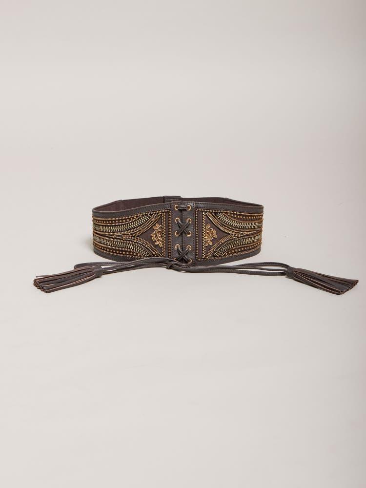 Dark Brown Embellished Corset Belt