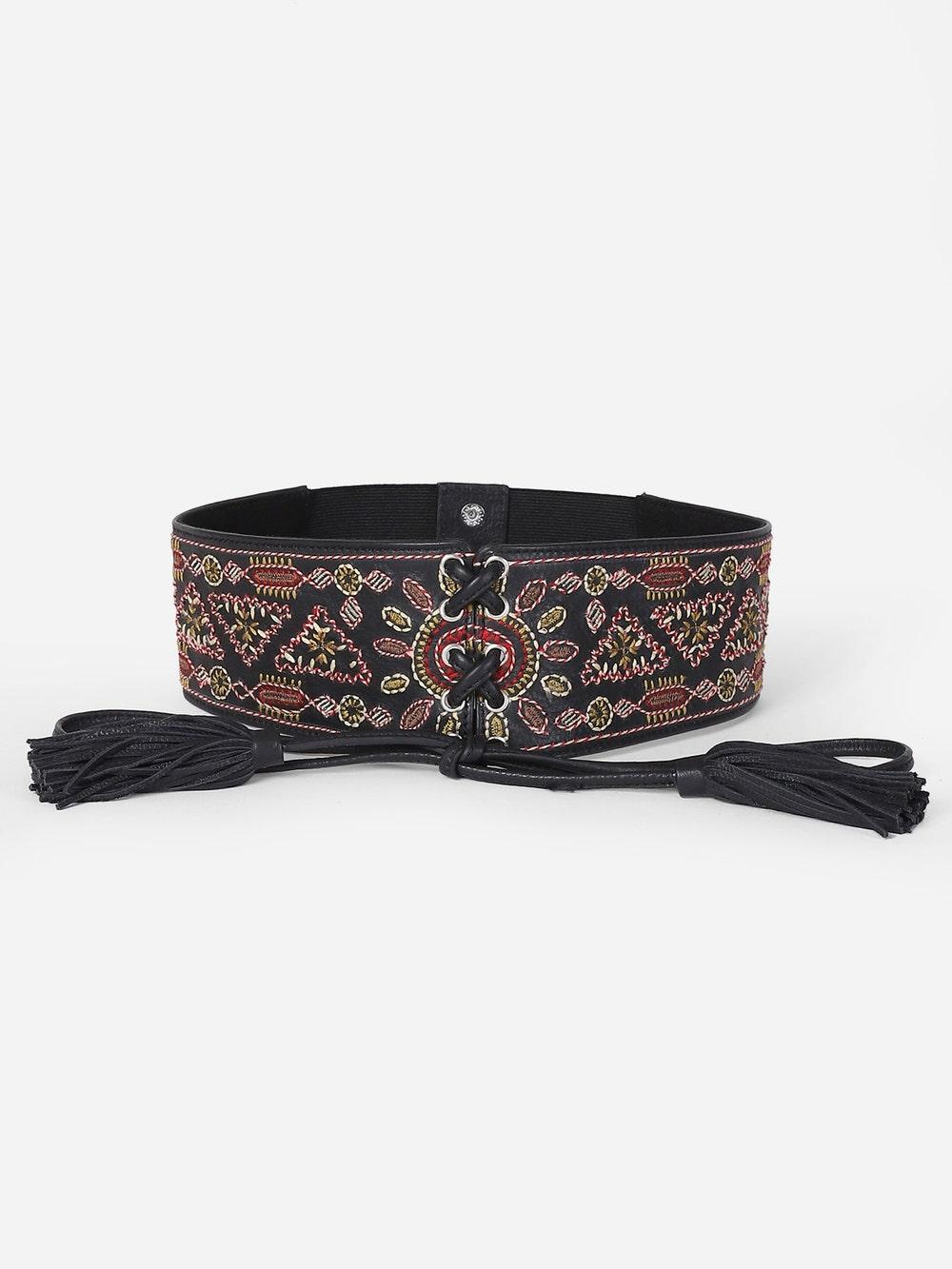 Black Embellished Corset Belt