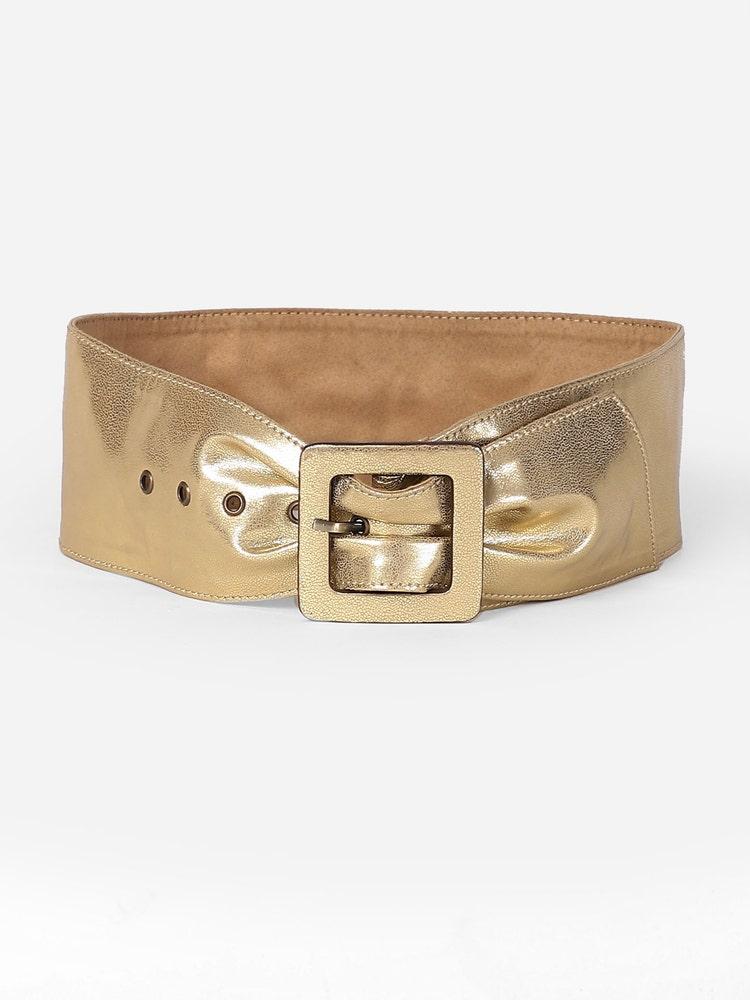 Golden Metallic Broad Buckle Belt