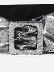 Silver Metallic Broad Buckle Belt