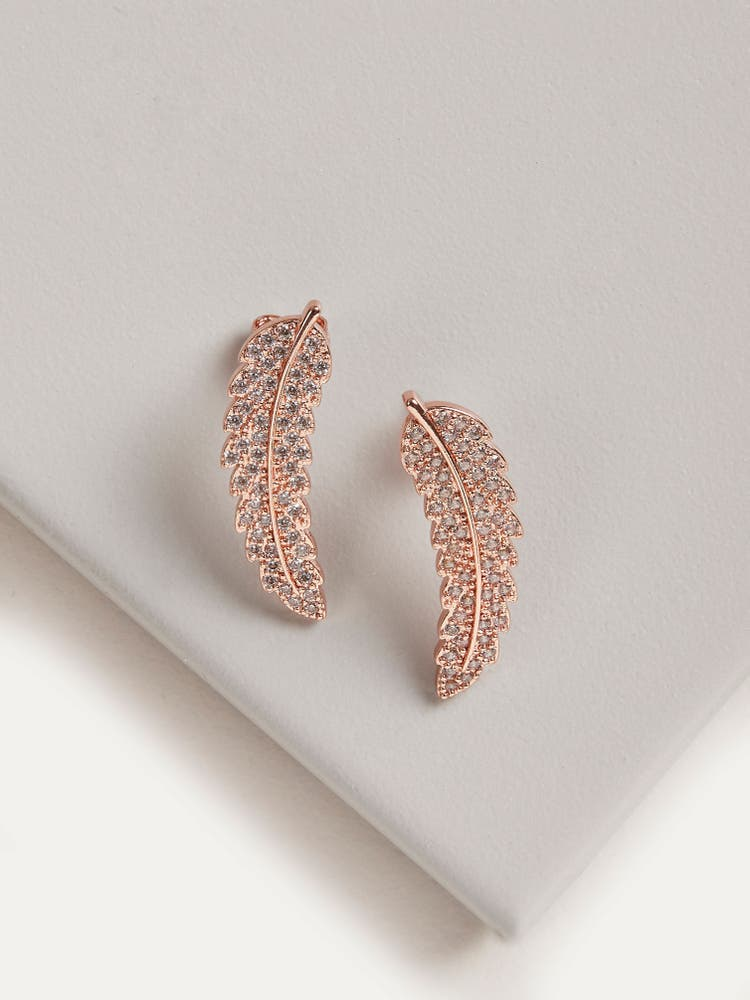 Rose Gold Cubic Zirconia Leaf Earrings