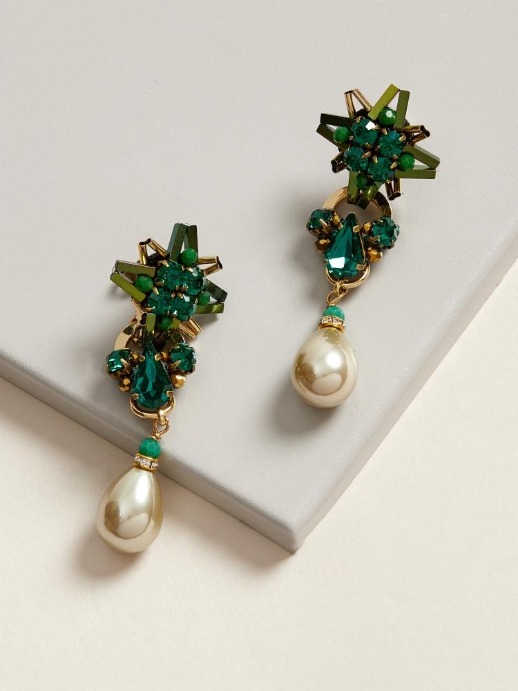 Green Star-light Earrings