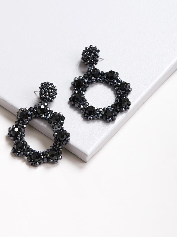 Hematite Moonshot Earrings