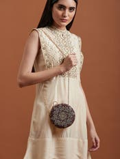 Brown Embroidered Clutch Bag
