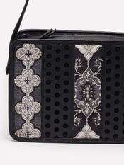 Black Geometric Print Sling Bag