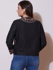 Black Embroidered Denim Jacket
