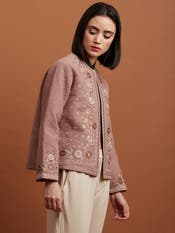 Brown Floral Embroidered Jacket