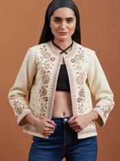 Ecru Floral Embroidered Jacket