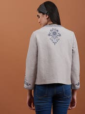 Green Floral Embroidered Jacket