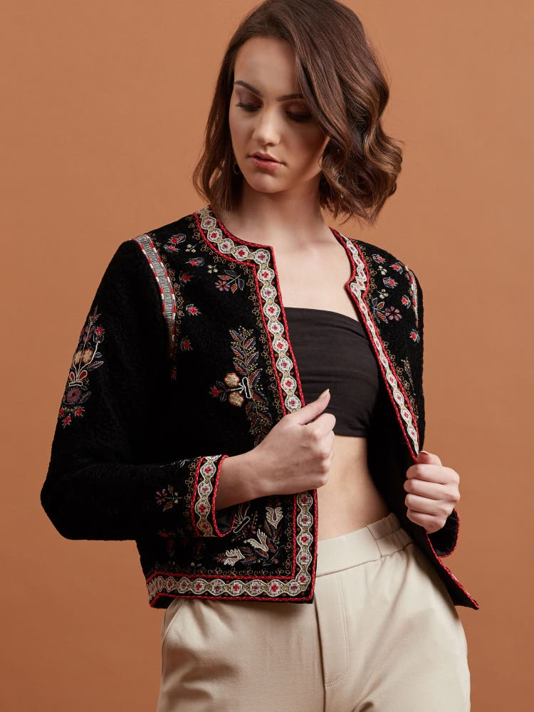 Black Embroidered Velvet Jacket