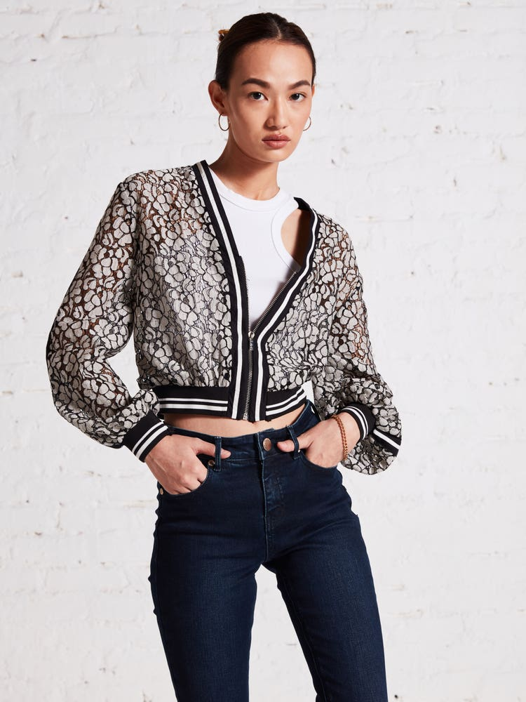 Black & Off White Floral Lace Jacket