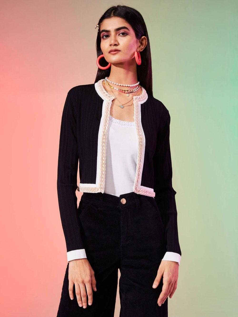 Black Front-Open Jacket