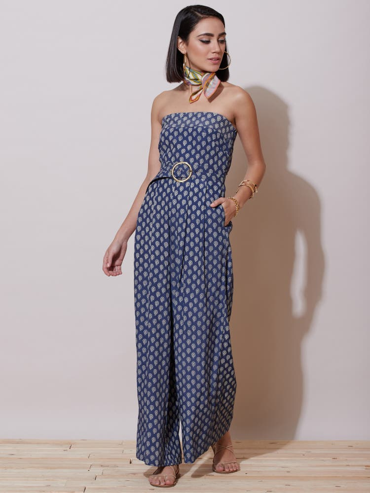 Blue Printed Strapless Jumpsuit