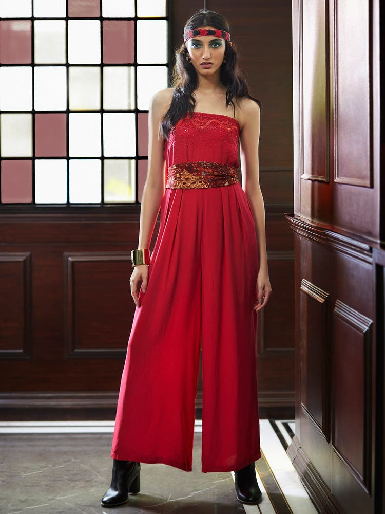 Red Embroidered Off-the Shoulder Jumpsuit