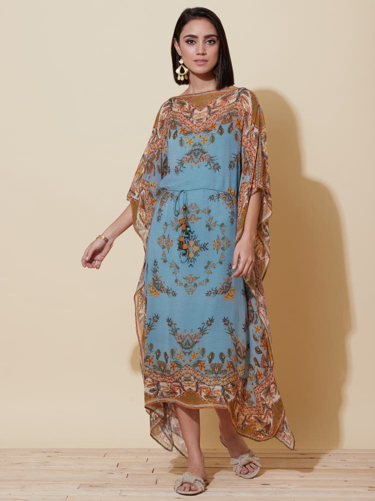 Denim Blue Floral Print Kaftan Dress